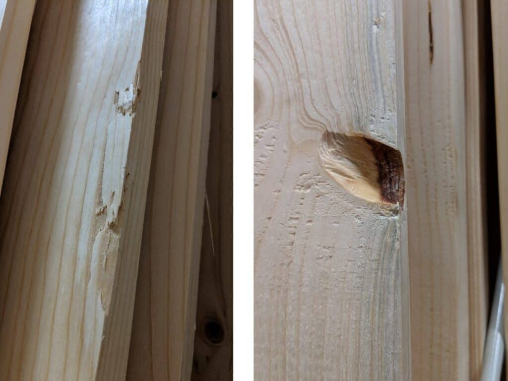 close-up of wood boards with knots and dings