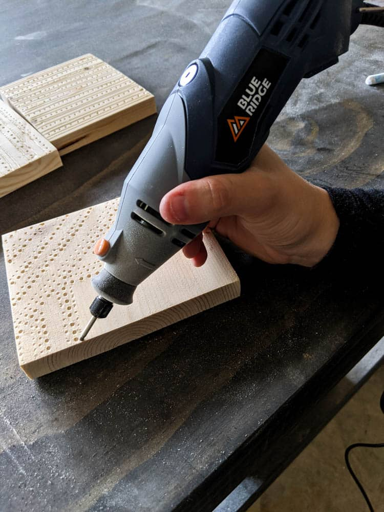 carving wood with dots using Blue Ridge Hobby Tool