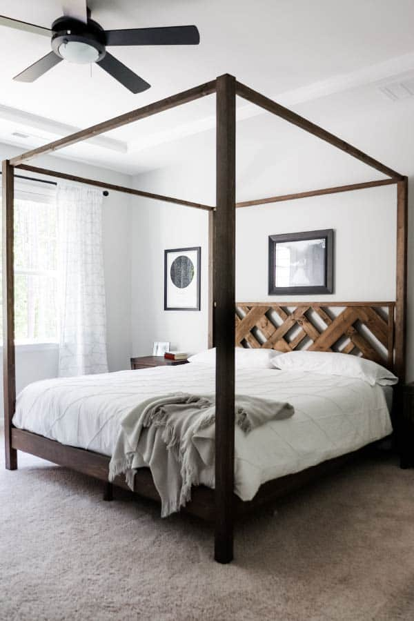 DIY King Canopy Bed with Wood Headboard