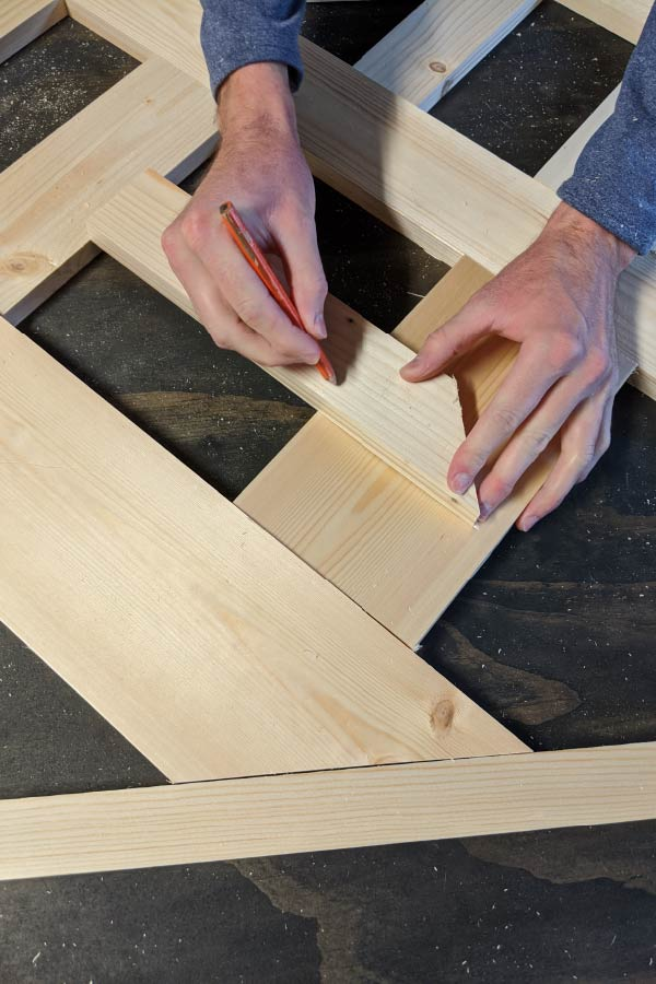 Marking angled measurements for woven headboard