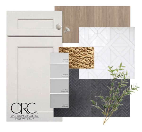 laundry room mood board with gray cabinets, black herringbone tile, marble, and wood