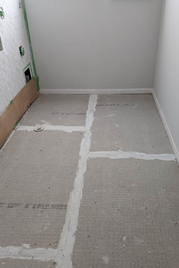 cement board placed on floor