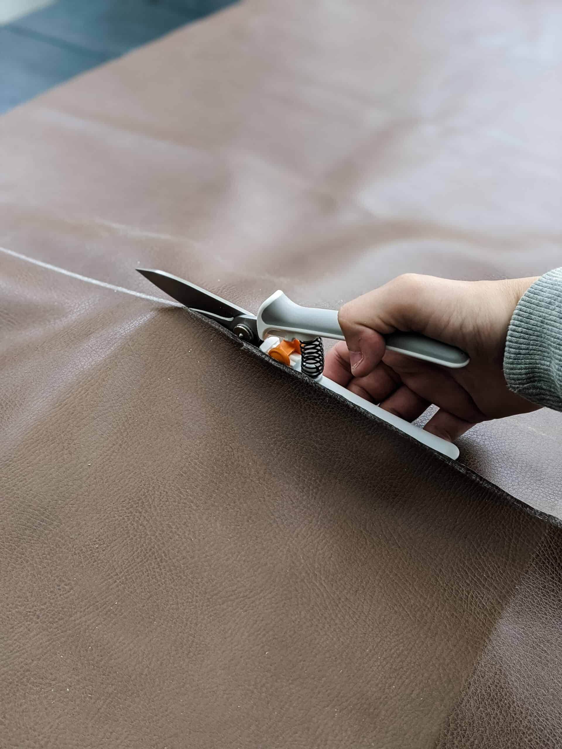 cutting leather with fiskars power snips