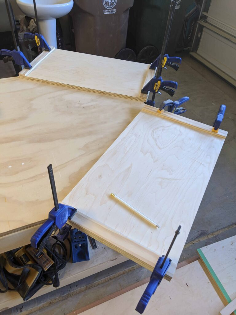 clamping trim to plywood to make sides