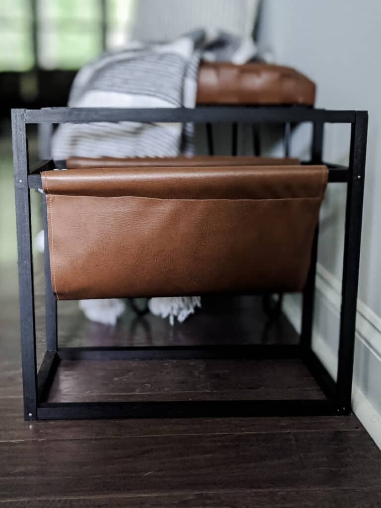 modern magazine holder with leather pouch
