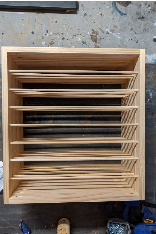 stack of pull-out drying drawers