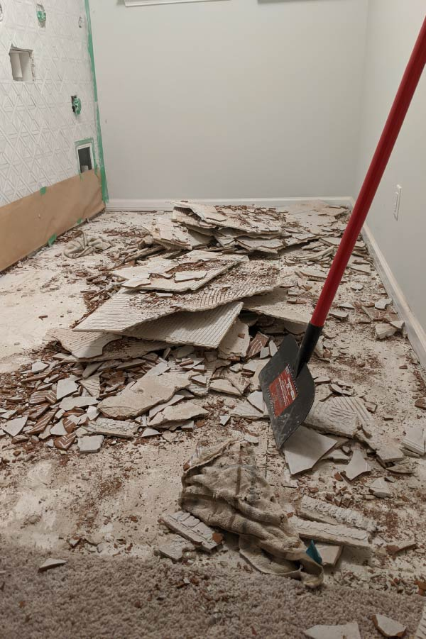 ripped up tile floors