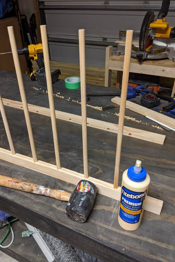 making a drying rack with dowels