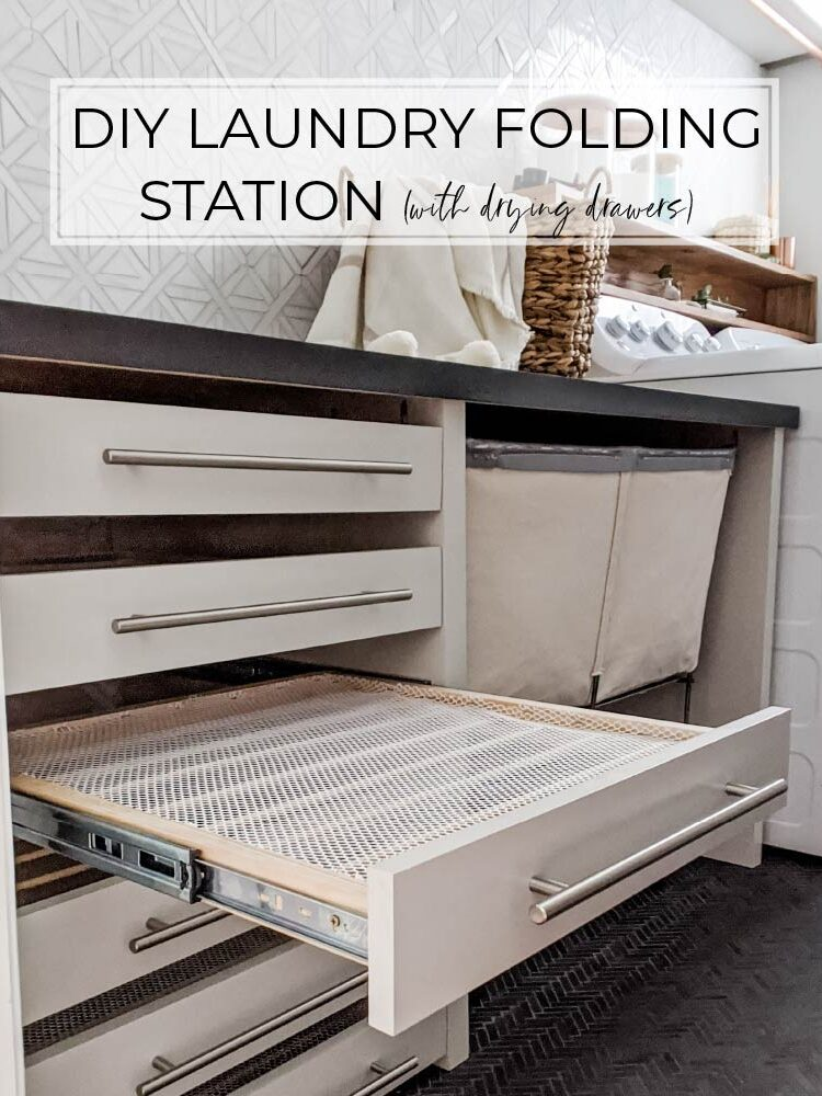 The Best DIY Laundry Room Folding Station with Drying Racks