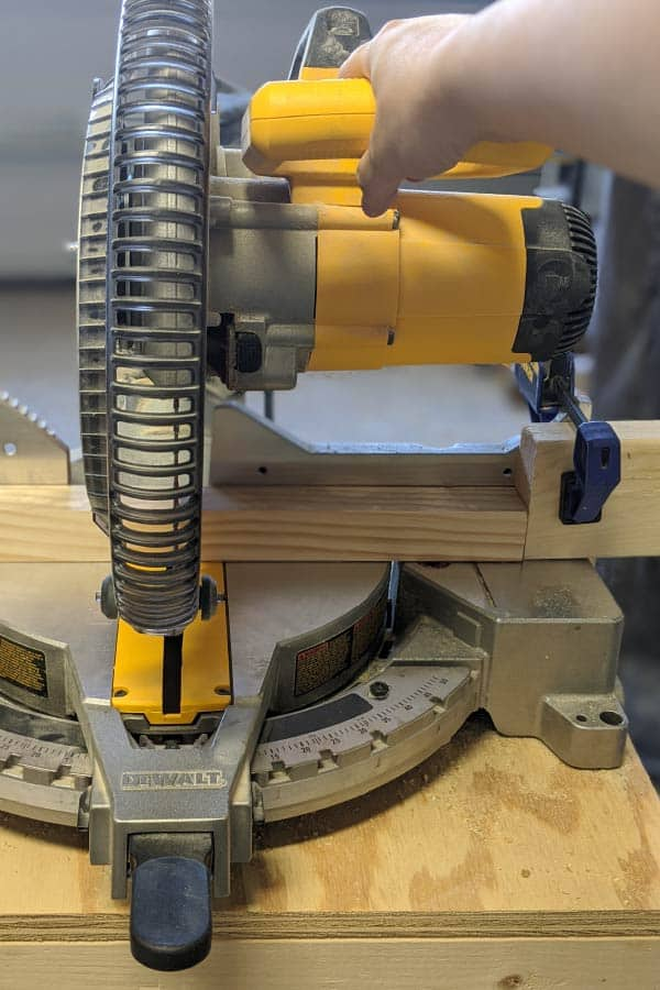 setting jig on miter saw