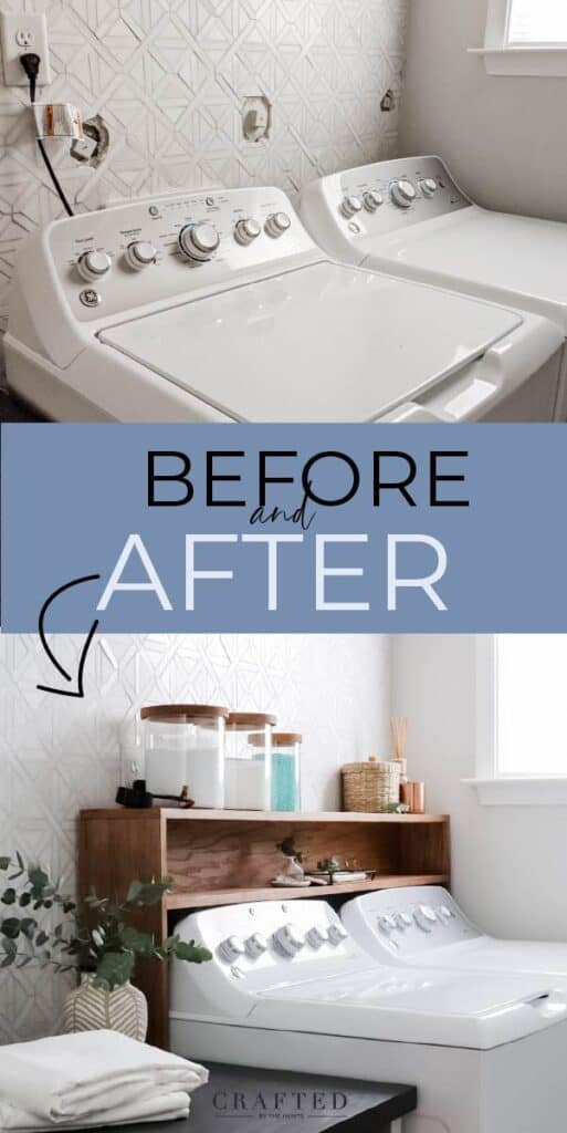 before and after: hiding plumbing clean outs over washer/dryer with a shelf