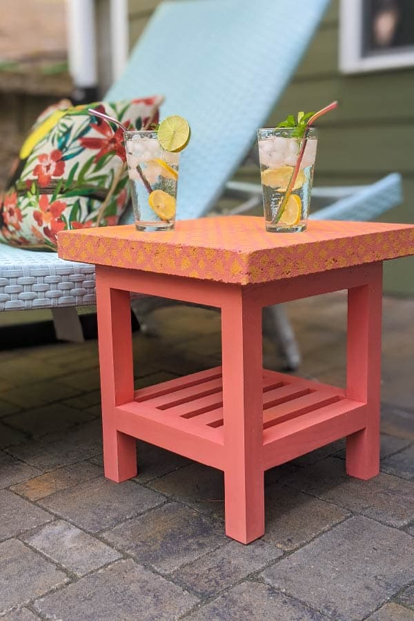 coral outdoor side table