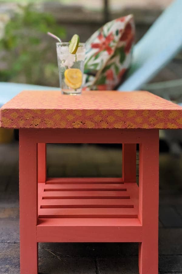 colorful coral outdoor side table