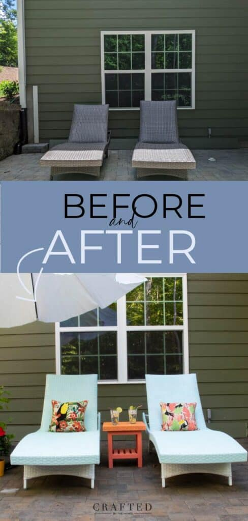 patio furniture makeover before and after: spray paint outdoor wicker furniture
