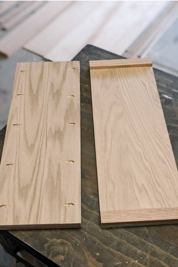front and back of diy buffet table sides
