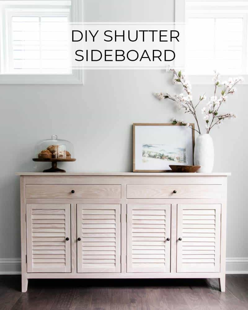 diy shutter sideboard with decor