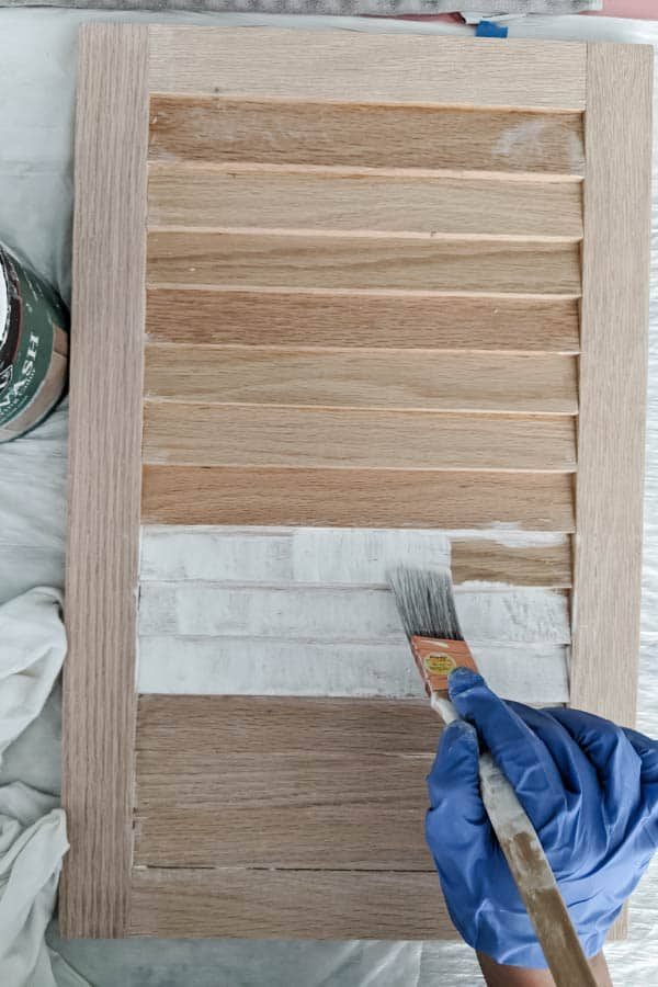 whitewashing slatted doors with Minwax Color Wash