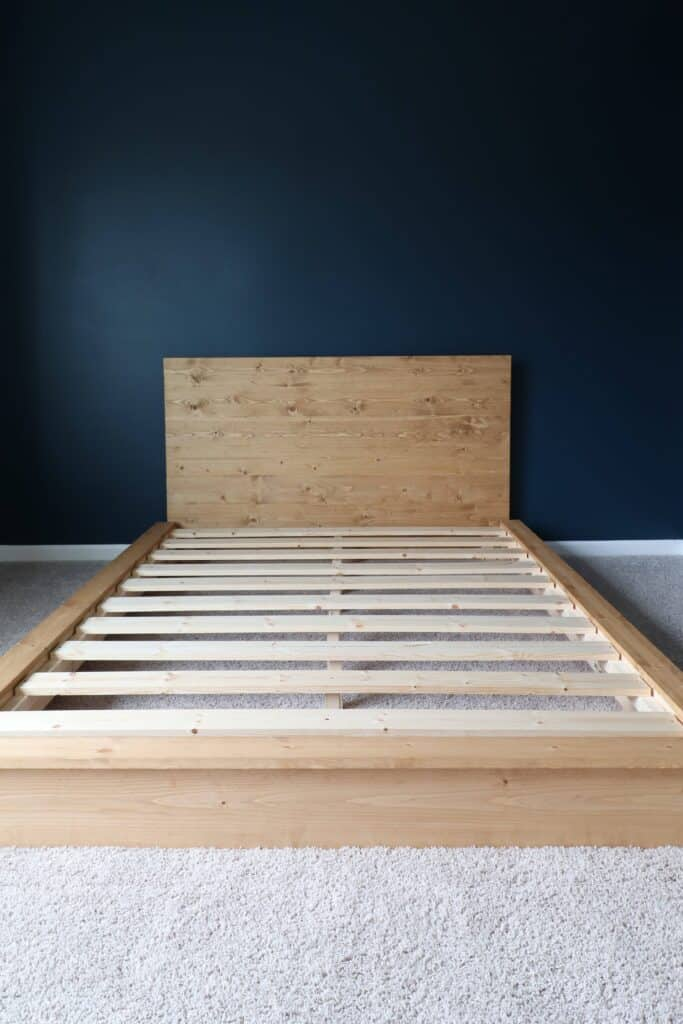 adding slats to DIY platform bed frame