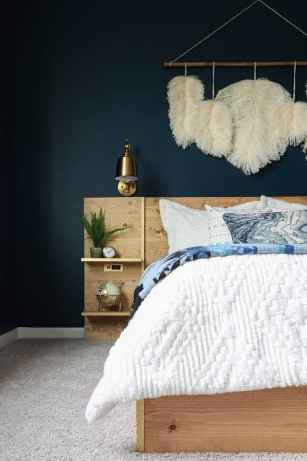 diy platform bed with floating nightstands and lights