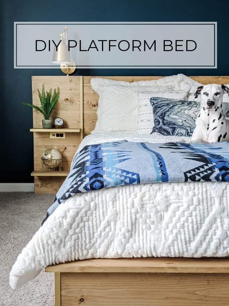 DIY Platform Bed Frame and Headboard with Built-In Nightstands