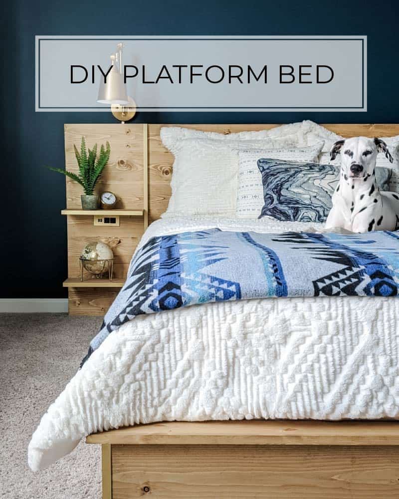 diy platform bed with metal accents