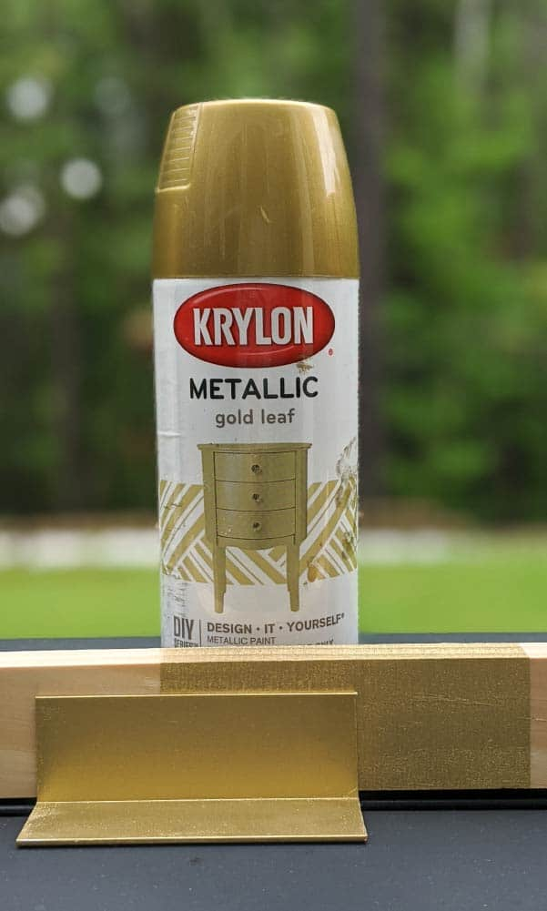 Krylon Brilliant Metallic Gold Leaf on metal and wood