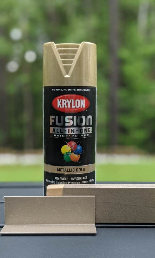 Krylon Fusion All-In-One Metallic Gold on metal and wood