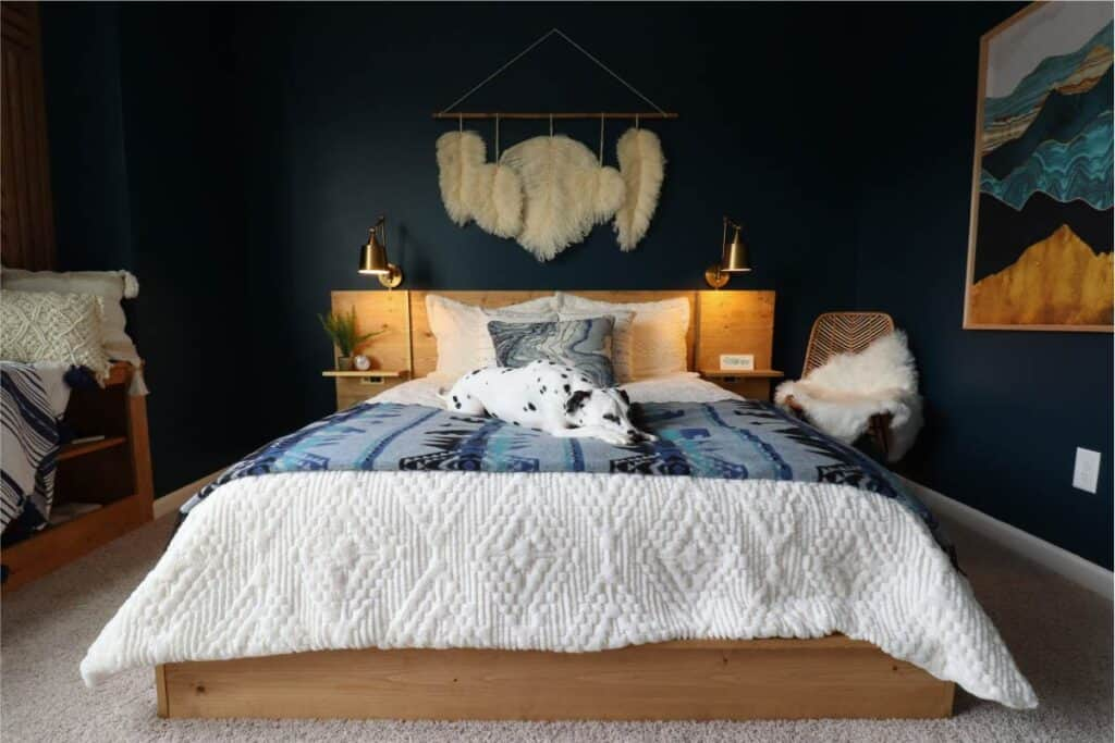 DIY platform bed with built in nightstand headboards