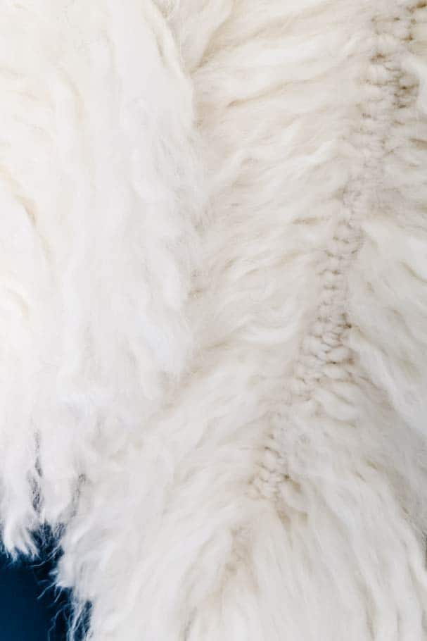 close-up of fluffy yarn feathers