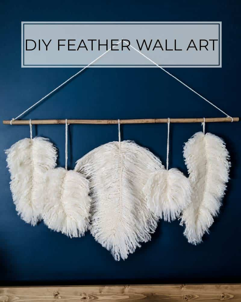DIY feather wall art made from yarn