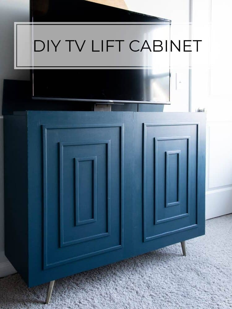 DIY mid-century modern tv lift cabinet