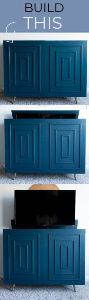 dark blue mid-century modern TV cabinet with hidden TV lift