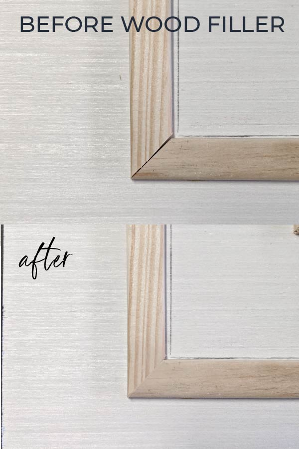 before and after of wood filler on mitered corners