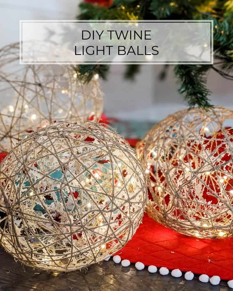 DIY twine balls with fairy lights inside