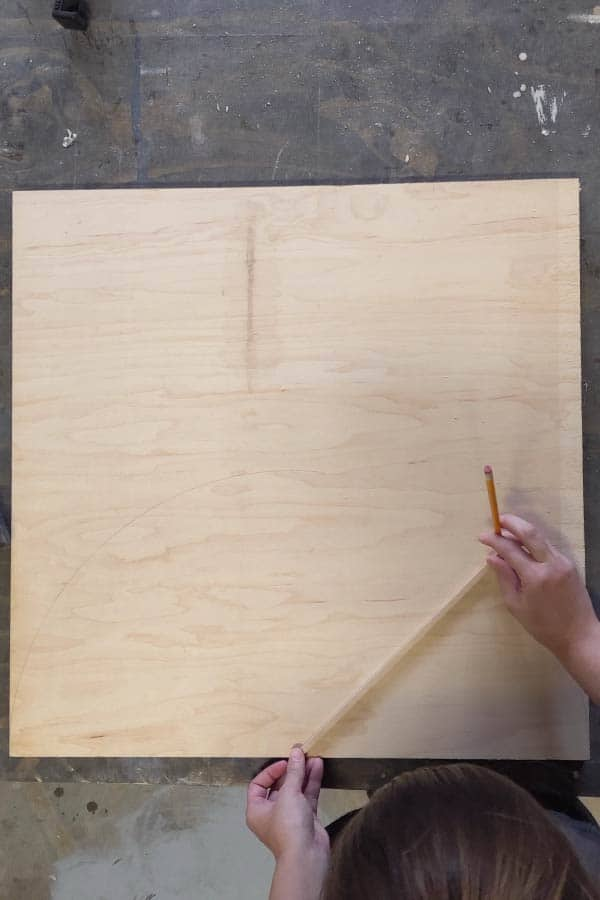drawing half circle on plywood