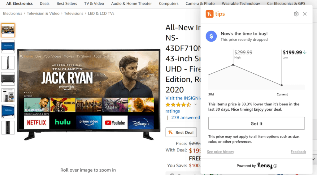 using Honey extension on Google Chrome to check if Amazon Prime Day deals are good