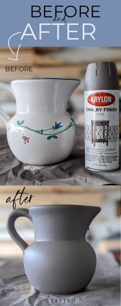 before and after of ceramic pitcher sprayed with Krylon Chalky Finish Mink spray paint
