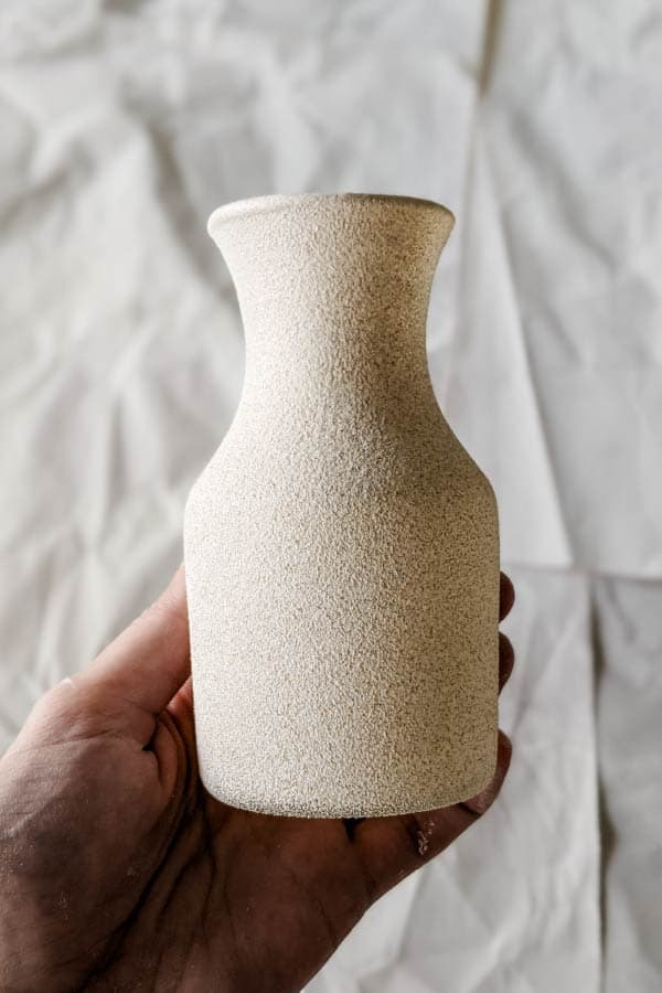 close-up of vase after being sprayed with Krylon Stone Fine Texture spray in Limestone