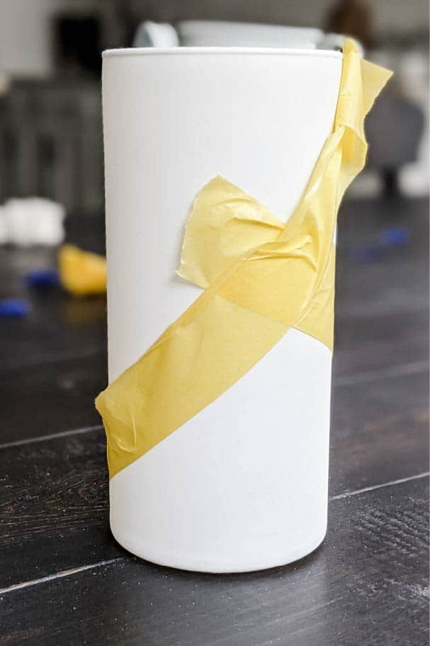 Taping vase to create two-tone look