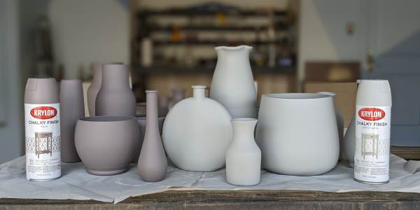 Vases sprayed with Krylon Chalky Finish spray paint in Mink and Paver Gray