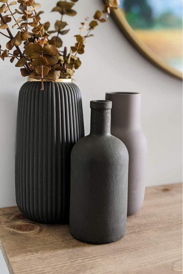 vases painted in Sherwin Williams Urbane Bronze using baking soda and paint technique