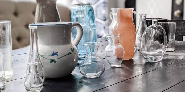 variety of glass vases before spray painting