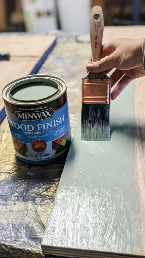 Applying Minwax Solid Color Wood Stain in Vintage Blue using Purdy brush