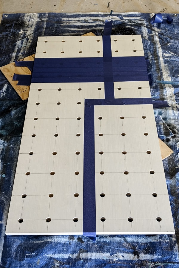 taping pegboard to paint