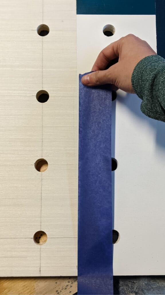 taping edges of colorblock pattern