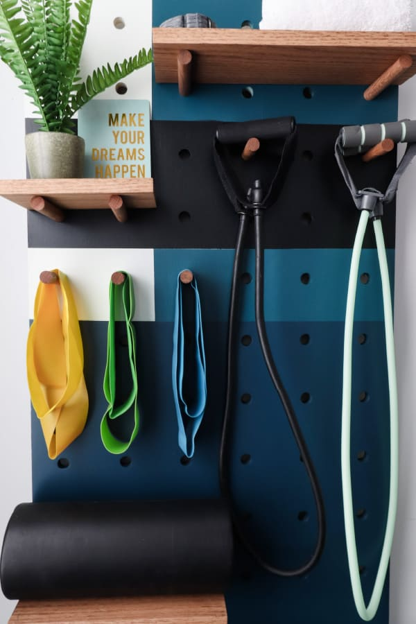 blue, black, and white pegboard