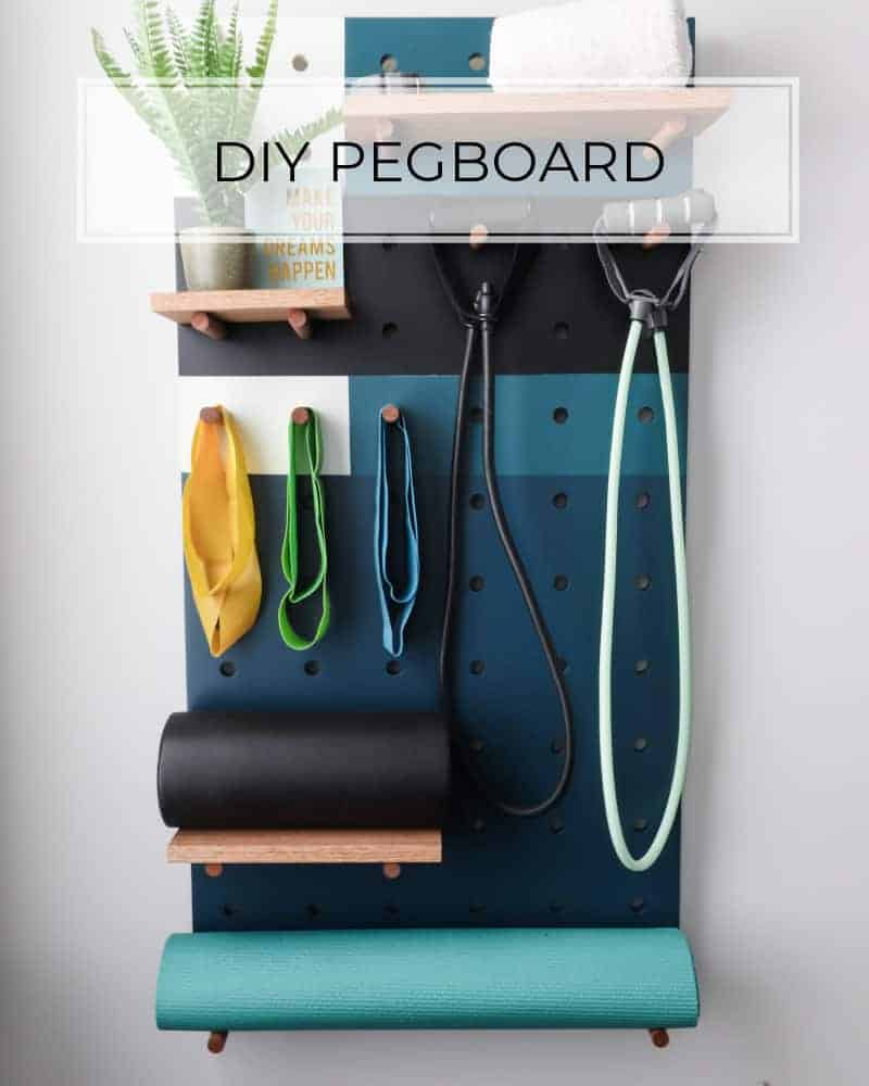 DIY pegboard with colorblock paint pattern