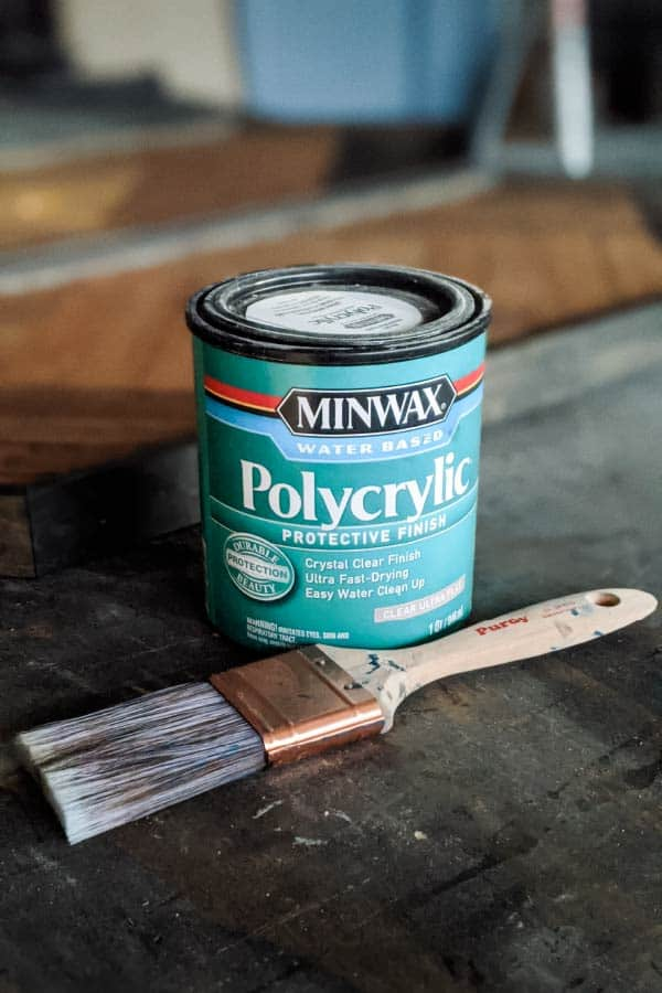 Minwax Water Based Polycrylic can and a Purdy XL brush