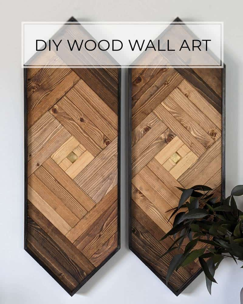 geometric wood wall art with ombre stained finished