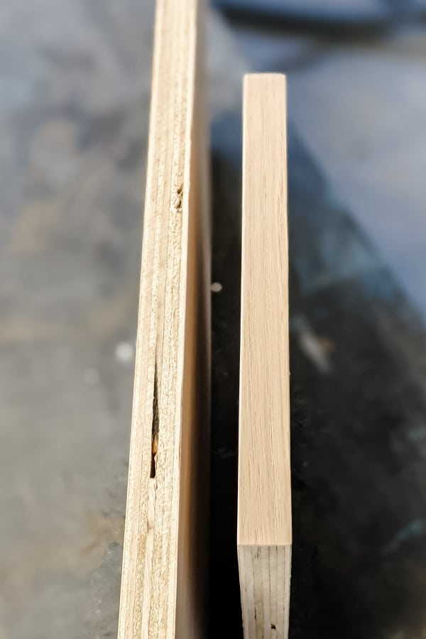 side by side of raw plywood edge and plywood edge finished with edge banding